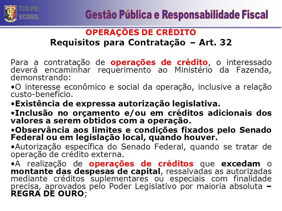 Requisitos para Contratação – Art. 32