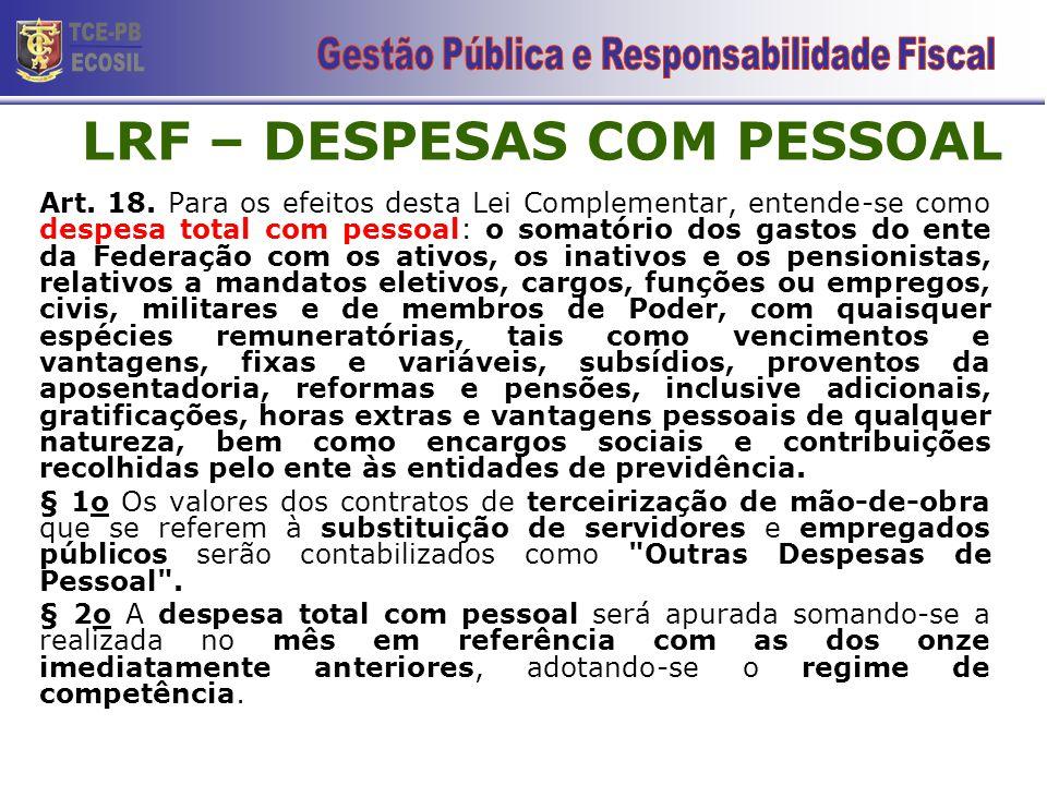 LRF – DESPESAS COM PESSOAL
