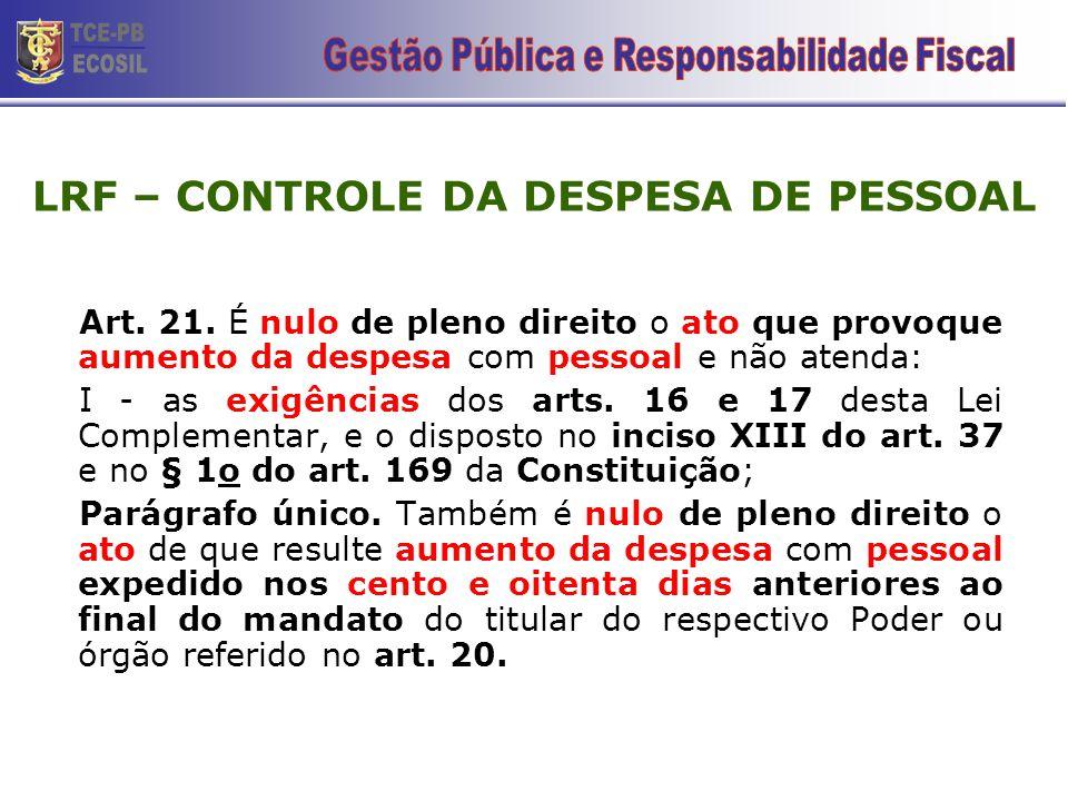 LRF – CONTROLE DA DESPESA DE PESSOAL