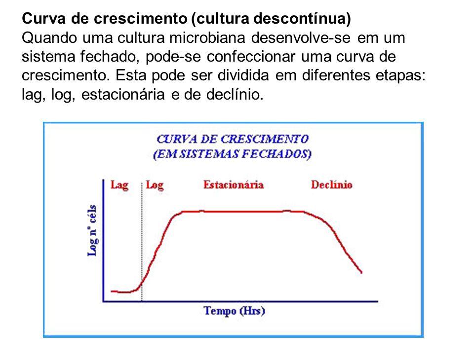 Curva de crescimento (cultura descontínua) Quando uma cultura microbiana desenvolve-se em um sistema fechado, pode-se confeccionar uma curva de crescimento.