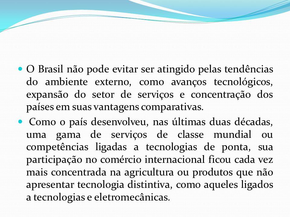O Brasil não pode evitar ser atingido pelas tendências do ambiente externo, como avanços tecnológicos, expansão do setor de serviços e concentração dos países em suas vantagens comparativas.
