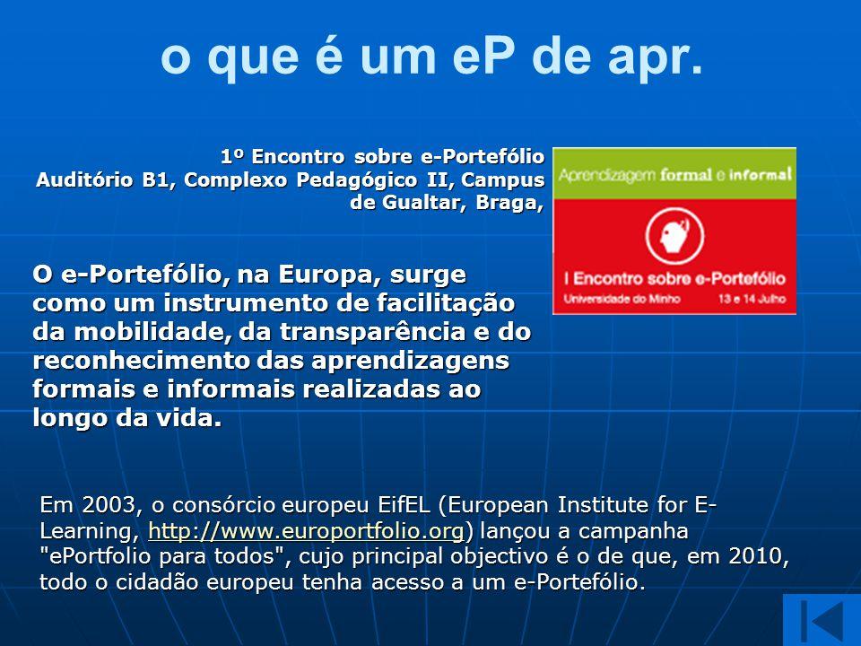 o que é um eP de apr. 1º Encontro sobre e-Portefólio Auditório B1, Complexo Pedagógico II, Campus de Gualtar, Braga,