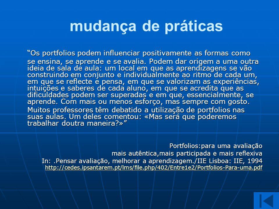 mudança de práticas Os portfolios podem influenciar positivamente as formas como.