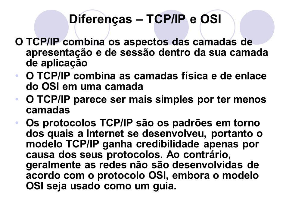 Diferenças – TCP/IP e OSI