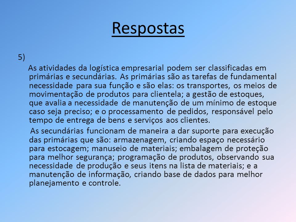 Respostas 5)