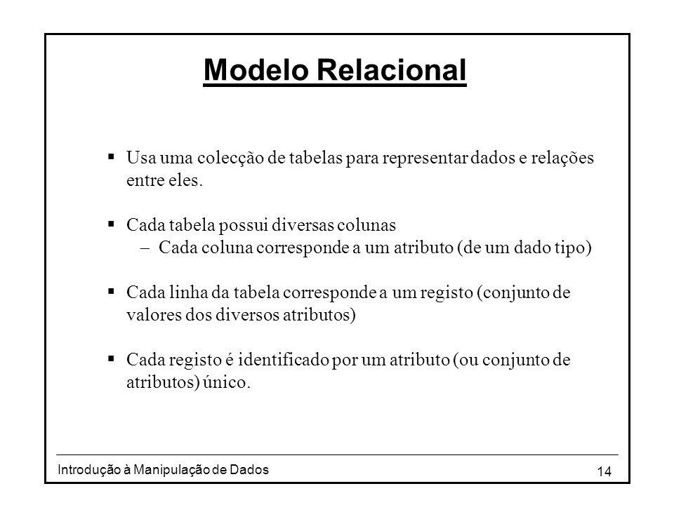 Modelo Relacional Usa uma colecção de tabelas para representar dados e relações entre eles. Cada tabela possui diversas colunas.