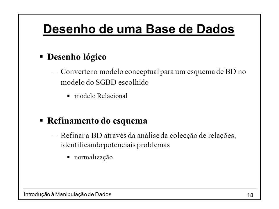 Desenho de uma Base de Dados