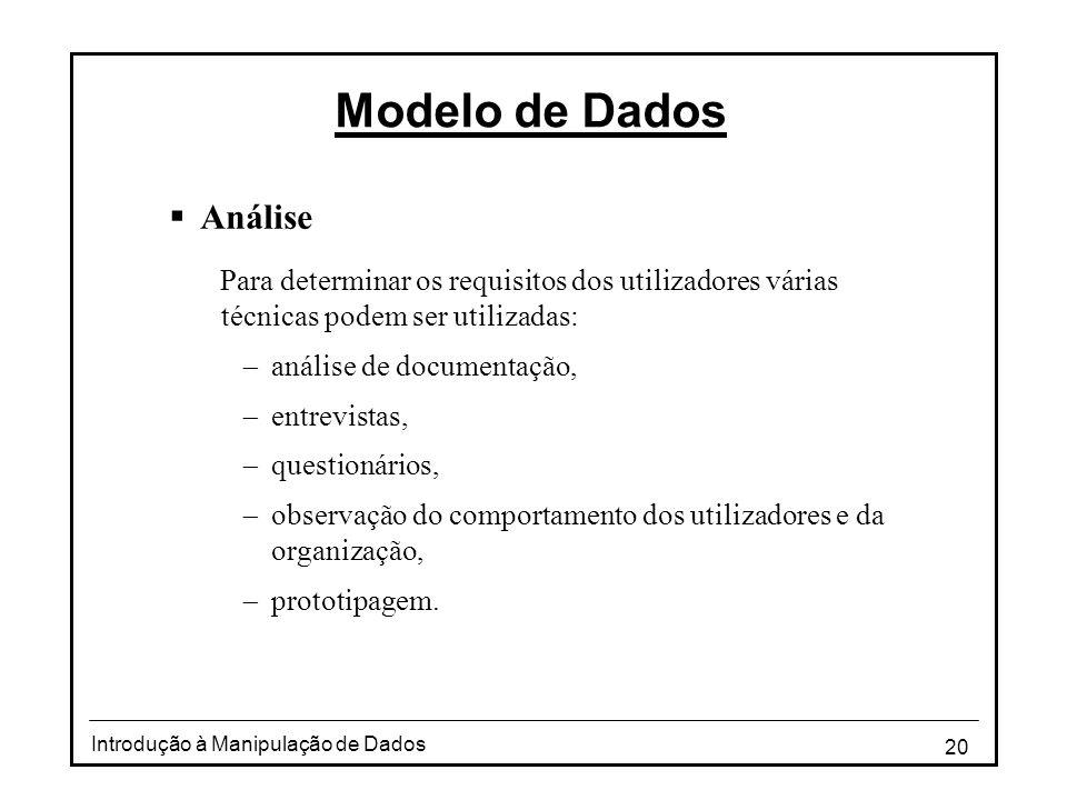 Modelo de Dados Análise