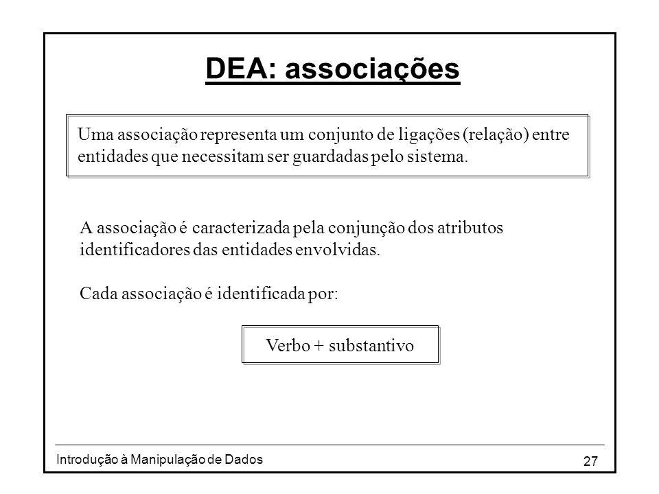 DEA: associações Uma associação representa um conjunto de ligações (relação) entre entidades que necessitam ser guardadas pelo sistema.