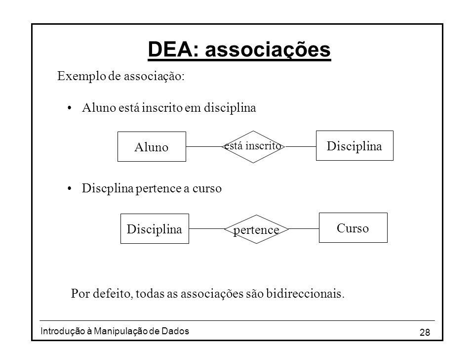 DEA: associações Exemplo de associação: