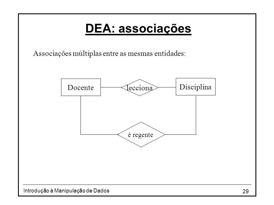 DEA: associações Associações múltiplas entre as mesmas entidades: