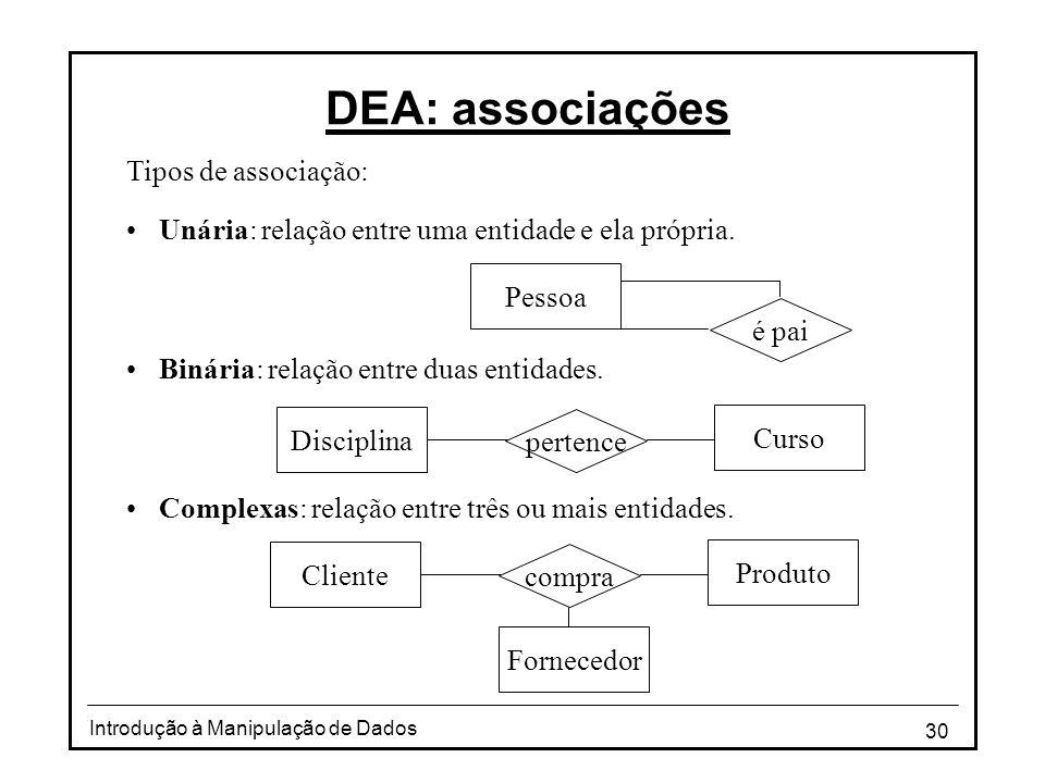 DEA: associações Tipos de associação: