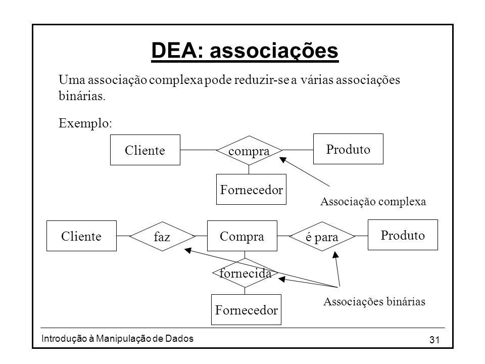 DEA: associações Uma associação complexa pode reduzir-se a várias associações binárias. Exemplo: Cliente.