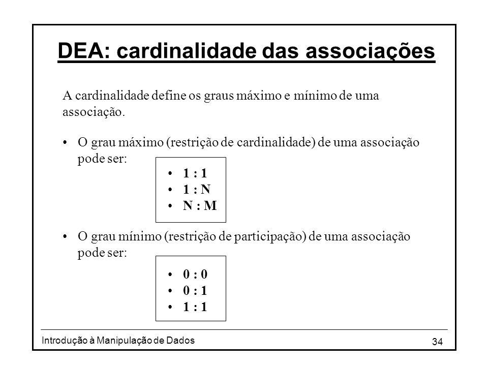 DEA: cardinalidade das associações
