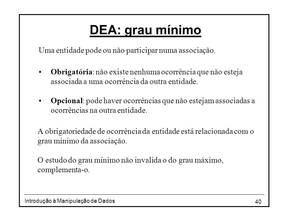 DEA: grau mínimo Uma entidade pode ou não participar numa associação.
