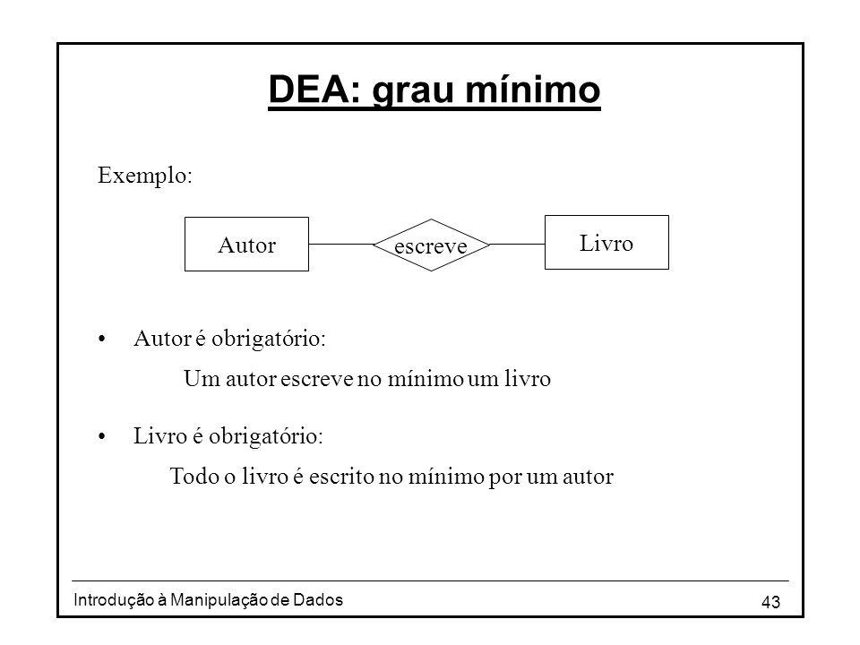 DEA: grau mínimo Exemplo: Autor Livro escreve Autor é obrigatório: