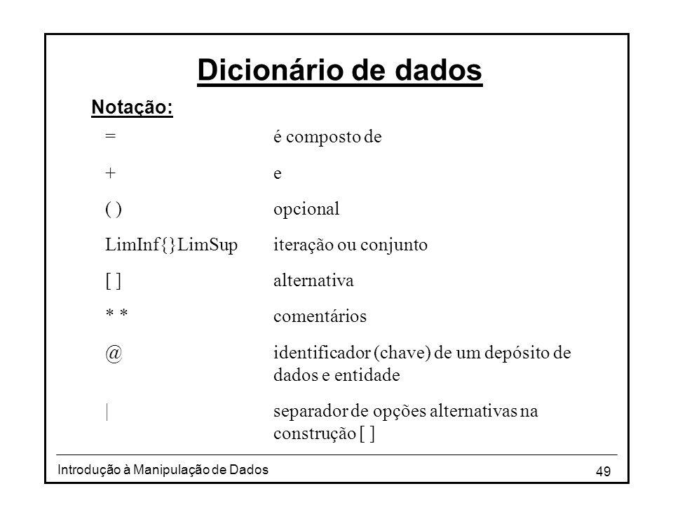Dicionário de dados Notação: = é composto de + e ( ) opcional