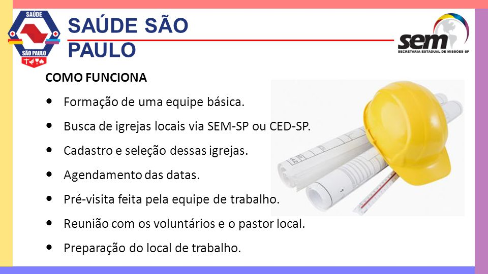 SAÚDE SÃO PAULO COMO FUNCIONA Formação de uma equipe básica.