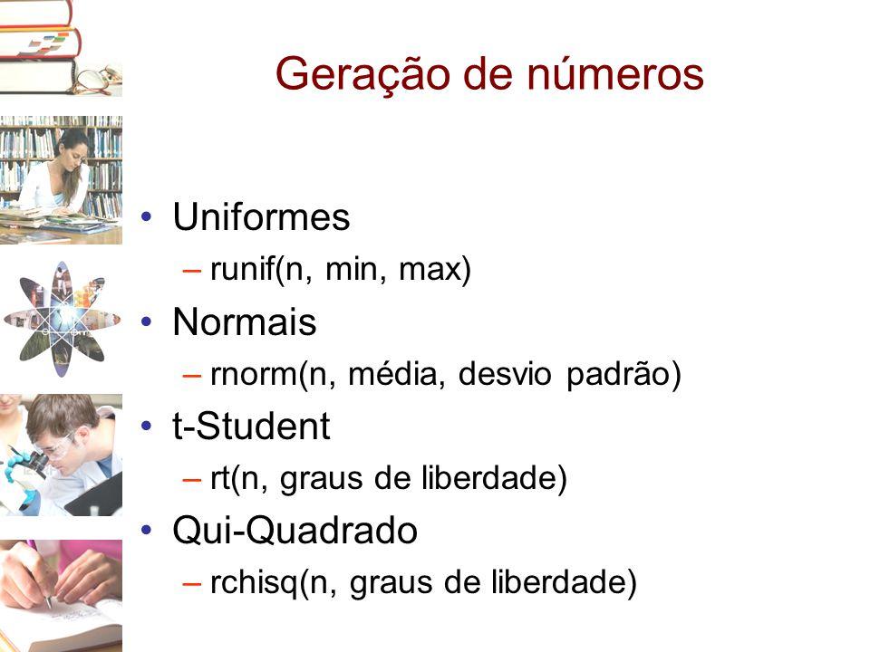 Geração de números Uniformes Normais t-Student Qui-Quadrado