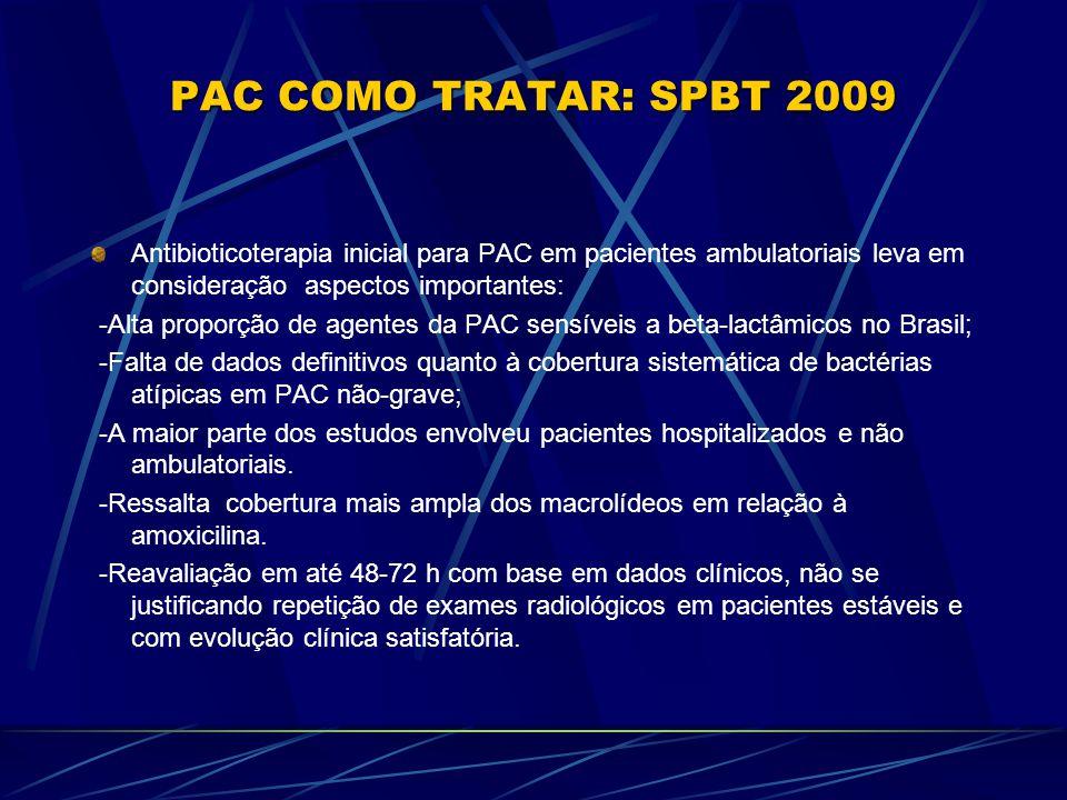 PAC COMO TRATAR: SPBT 2009 Antibioticoterapia inicial para PAC em pacientes ambulatoriais leva em consideração aspectos importantes: