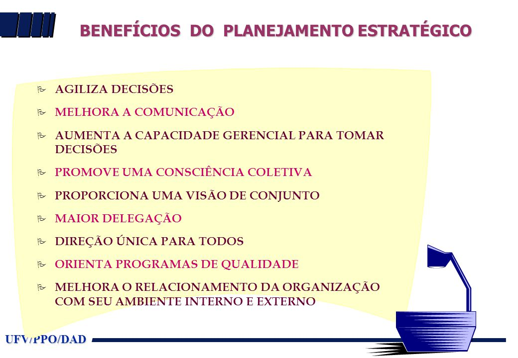 BENEFÍCIOS DO PLANEJAMENTO ESTRATÉGICO