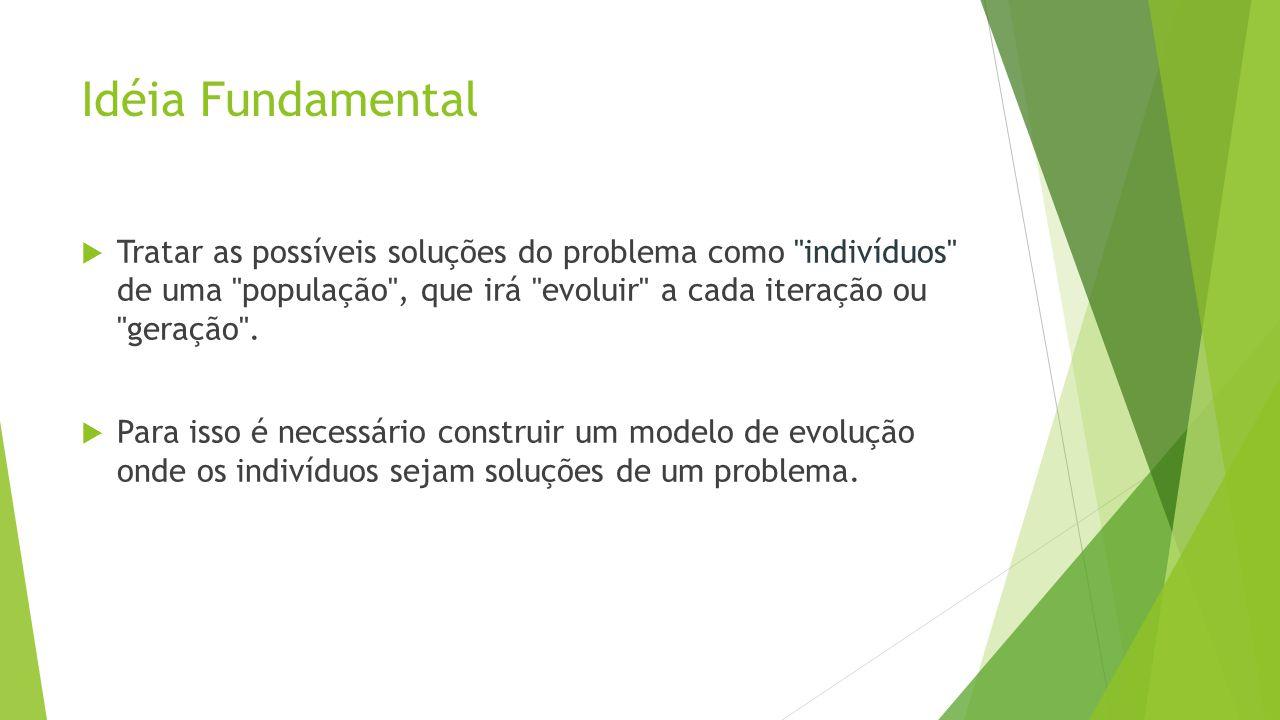 Idéia Fundamental Tratar as possíveis soluções do problema como indivíduos de uma população , que irá evoluir a cada iteração ou geração .