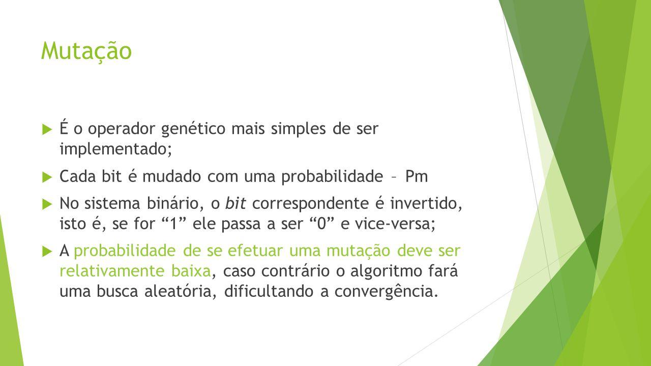 Mutação É o operador genético mais simples de ser implementado;