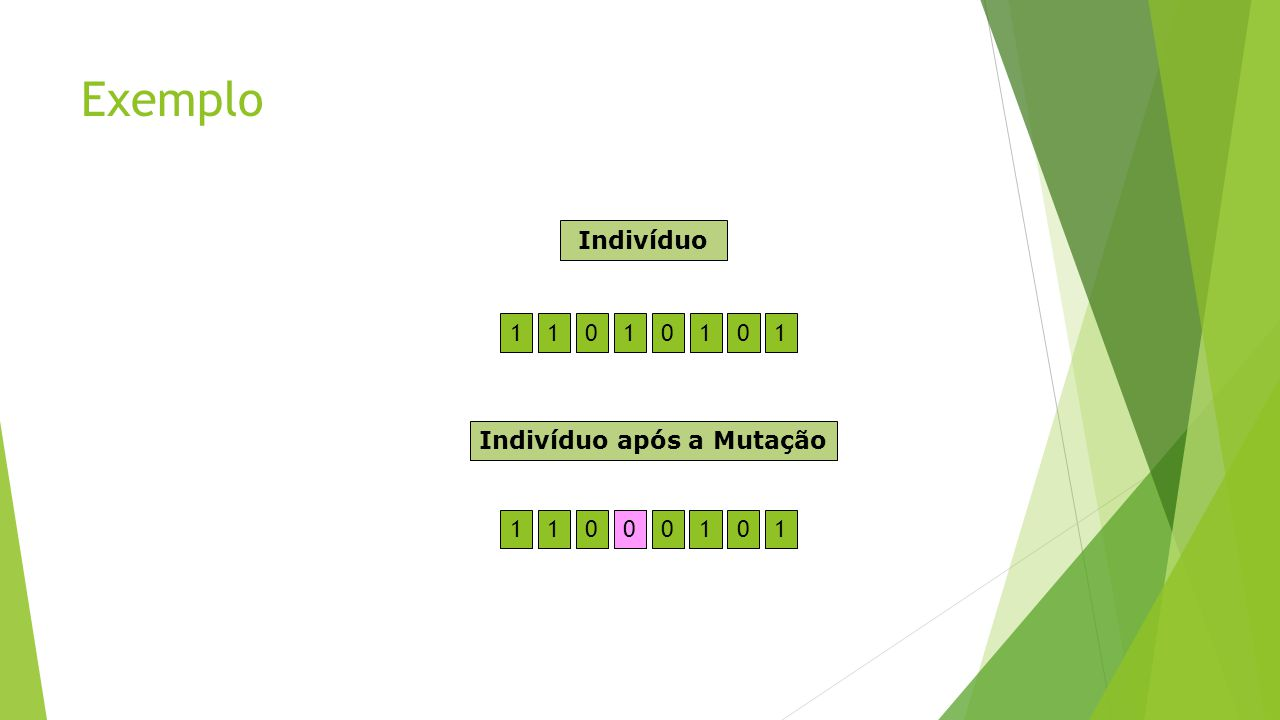 Exemplo Indivíduo 1 1 1 1 1 Indivíduo após a Mutação 1 1 1 1 1