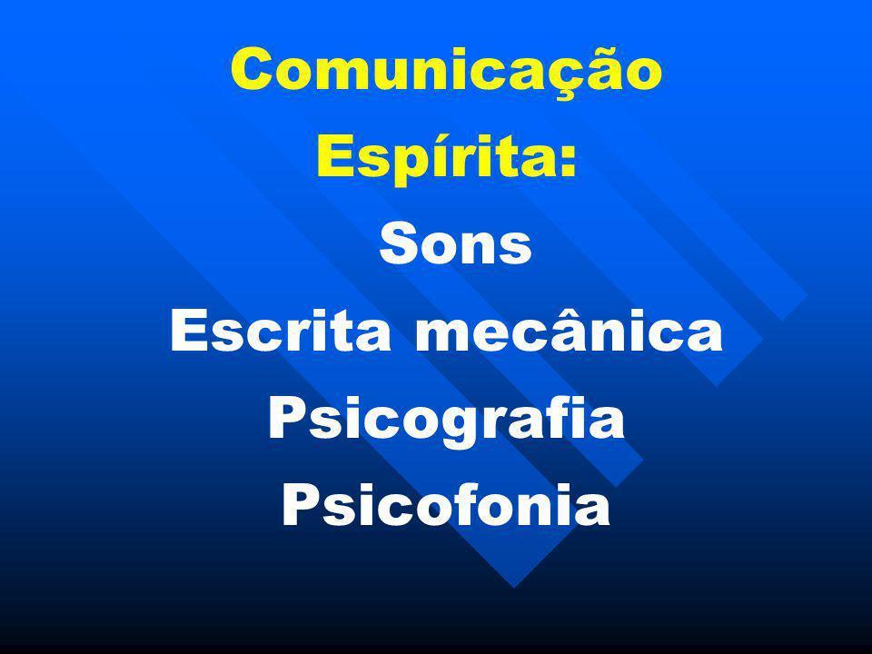 Comunicação Espírita: Sons Escrita mecânica Psicografia Psicofonia