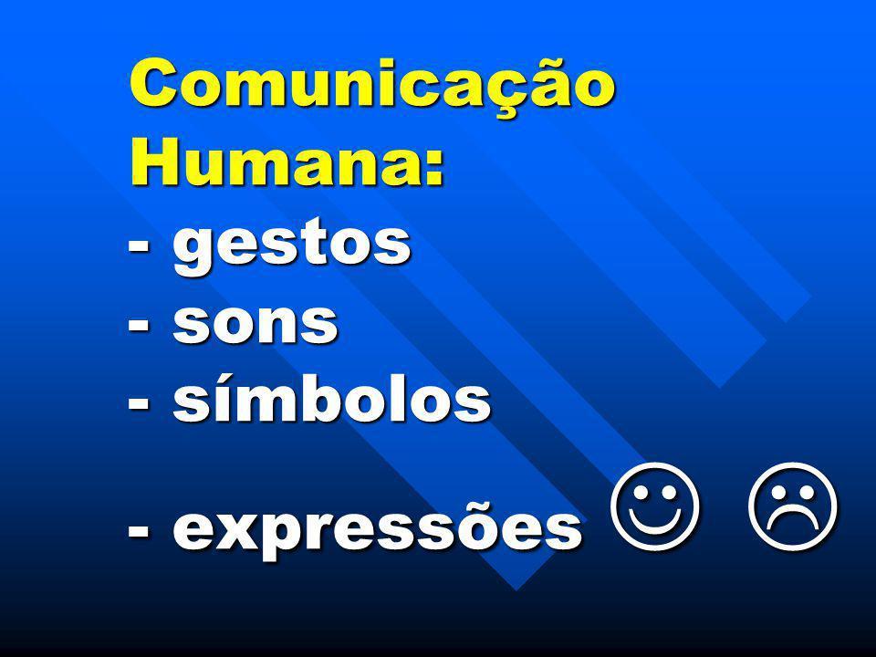 Comunicação Humana: - gestos - sons - símbolos - expressões  