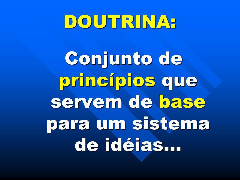 Conjunto de princípios que servem de base para um sistema de idéias...