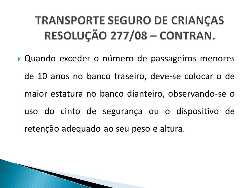 TRANSPORTE SEGURO DE CRIANÇAS RESOLUÇÃO 277/08 – CONTRAN.