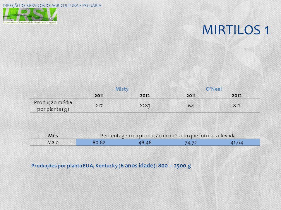 MIRTILOS 1 Misty O Neal 2011 2012 Produção média por planta (g) 217