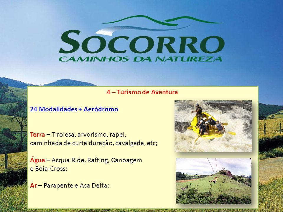 4 – Turismo de Aventura 24 Modalidades + Aeródromo. Terra – Tirolesa, arvorismo, rapel, caminhada de curta duração, cavalgada, etc;
