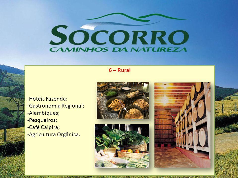 6 – Rural Hotéis Fazenda; Gastronomia Regional; Alambiques; Pesqueiros; Café Caipira; Agricultura Orgânica.