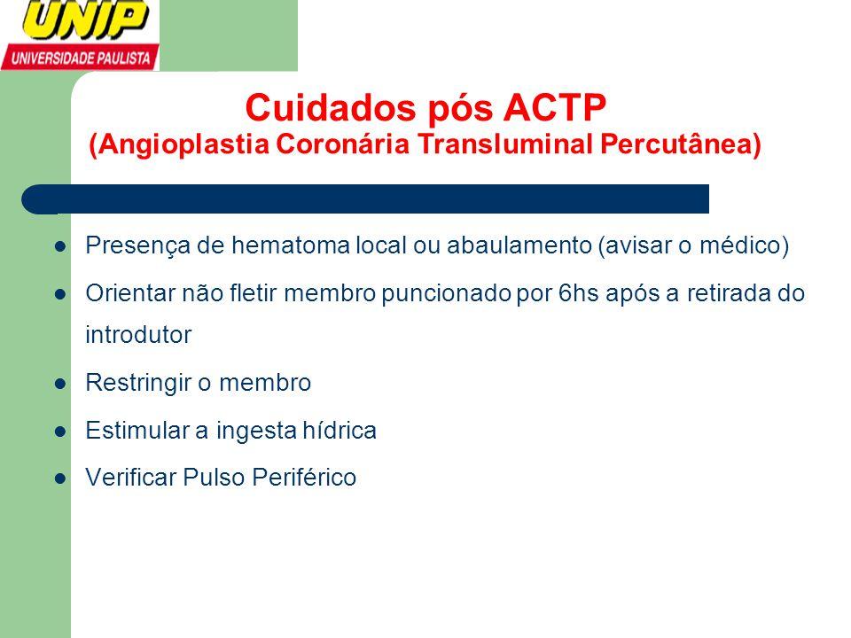 Cuidados pós ACTP (Angioplastia Coronária Transluminal Percutânea)