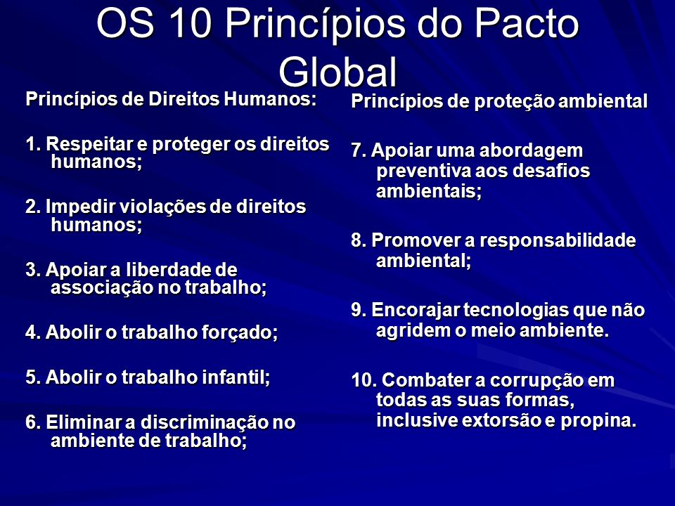 OS 10 Princípios do Pacto Global
