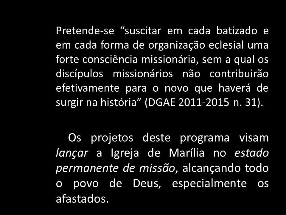 Pretende-se suscitar em cada batizado e em cada forma de organização eclesial uma forte consciência missionária, sem a qual os discípulos missionários não contribuirão efetivamente para o novo que haverá de surgir na história (DGAE 2011-2015 n. 31).