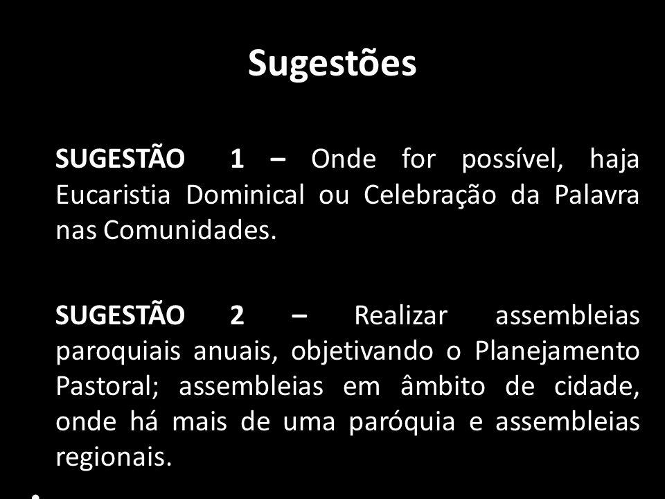 Sugestões SUGESTÃO 1 – Onde for possível, haja Eucaristia Dominical ou Celebração da Palavra nas Comunidades.