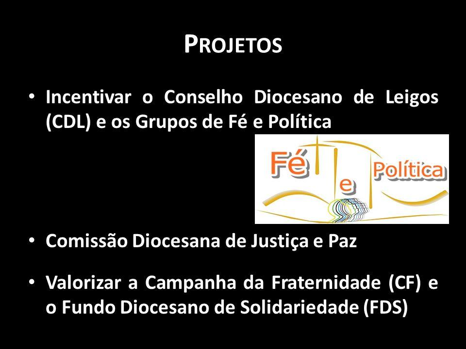 Projetos Incentivar o Conselho Diocesano de Leigos (CDL) e os Grupos de Fé e Política. Comissão Diocesana de Justiça e Paz.