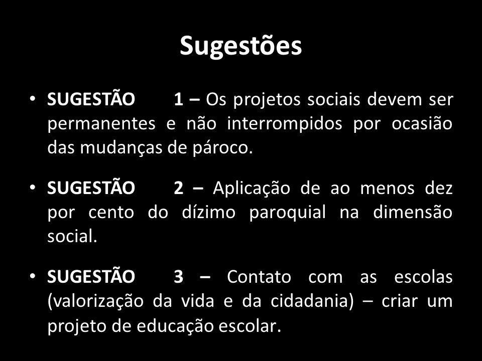 Sugestões SUGESTÃO 1 – Os projetos sociais devem ser permanentes e não interrompidos por ocasião das mudanças de pároco.