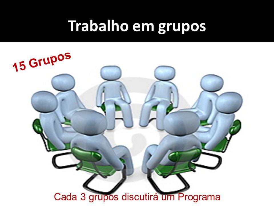 Cada 3 grupos discutirá um Programa