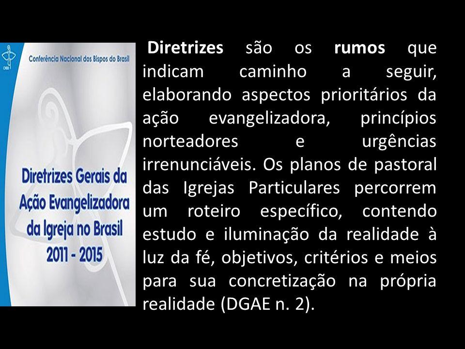 Diretrizes são os rumos que indicam caminho a seguir, elaborando aspectos prioritários da ação evangelizadora, princípios norteadores e urgências irrenunciáveis.