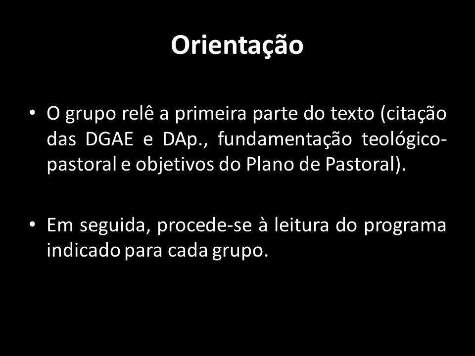 Orientação O grupo relê a primeira parte do texto (citação das DGAE e DAp., fundamentação teológico-pastoral e objetivos do Plano de Pastoral).
