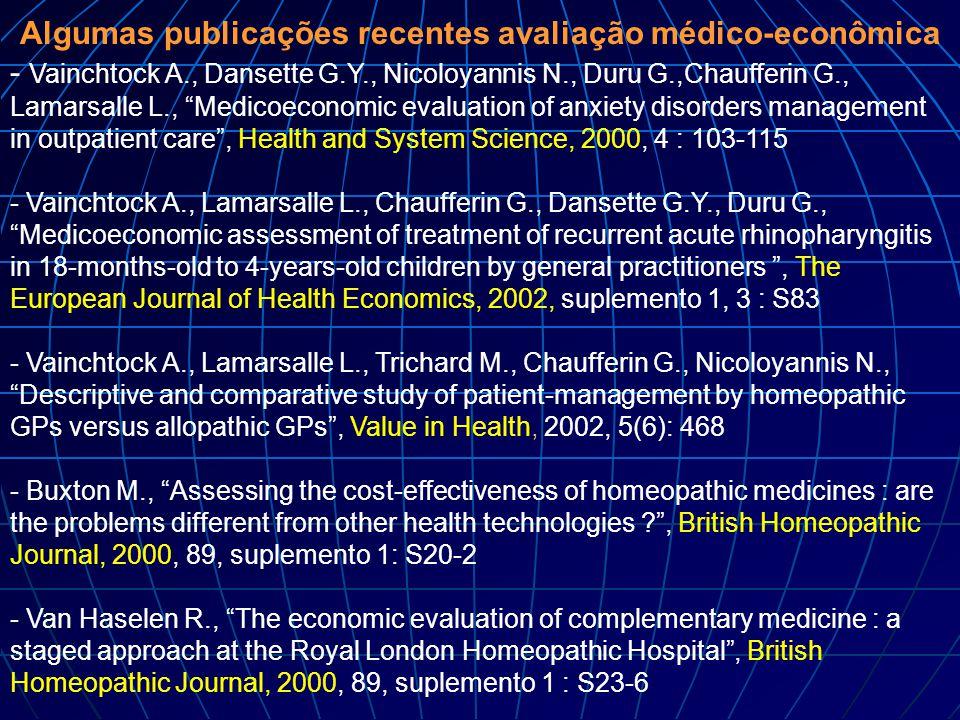 Algumas publicações recentes avaliação médico-econômica