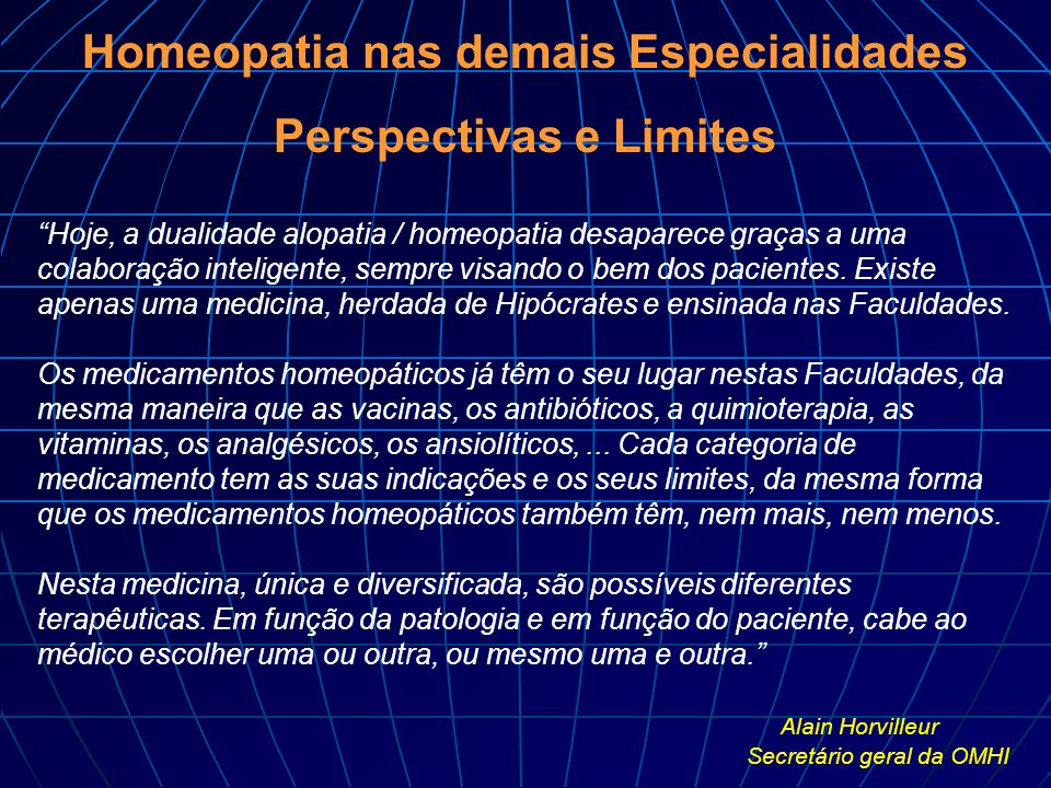 Homeopatia nas demais Especialidades Perspectivas e Limites