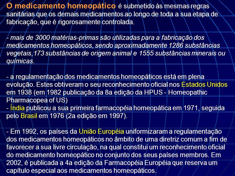 O medicamento homeopático é submetido às mesmas regras sanitárias que os demais medicamentos ao longo de toda a sua etapa de fabricação, que é rigorosamente controlada.