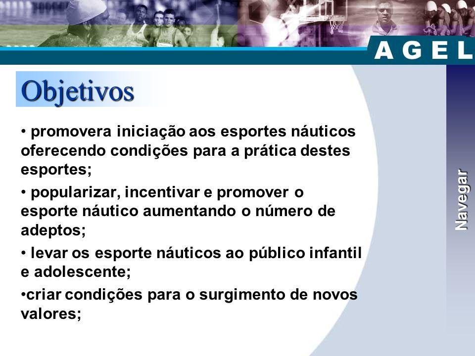 Navegar Objetivos. promovera iniciação aos esportes náuticos oferecendo condições para a prática destes esportes;