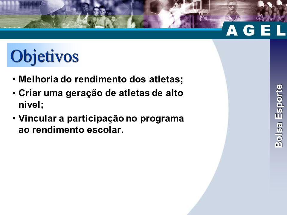 Objetivos Bolsa Esporte Melhoria do rendimento dos atletas;