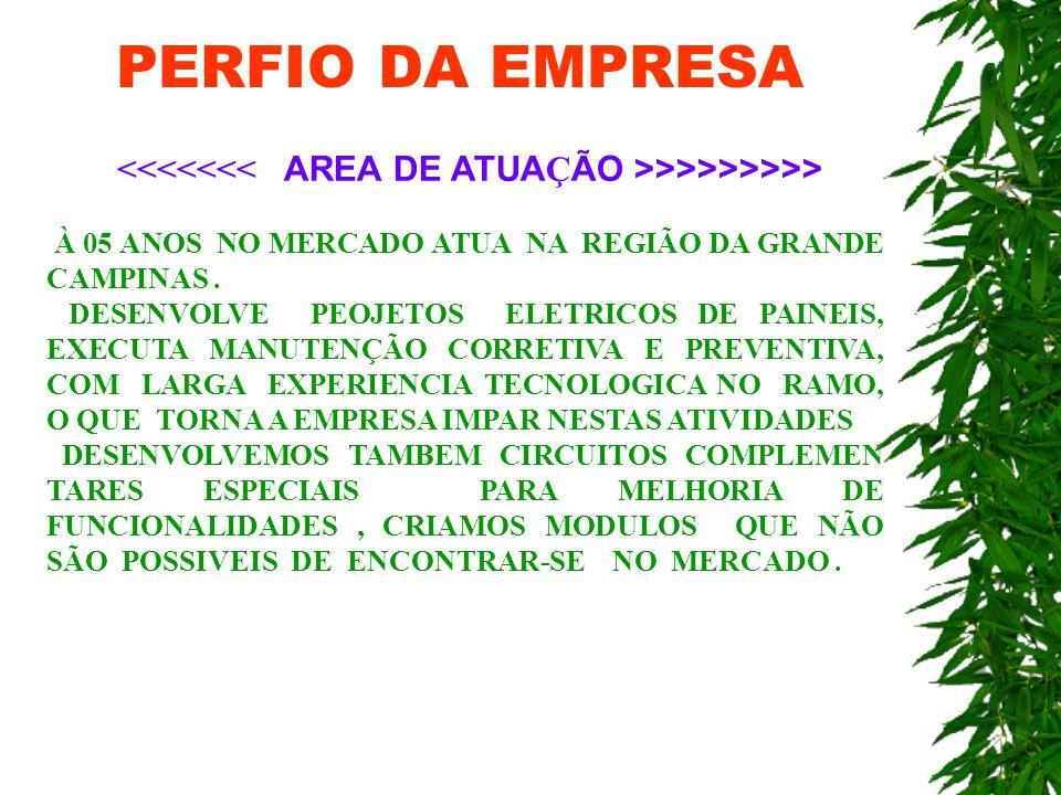 PERFIO DA EMPRESA <<<<<<< AREA DE ATUAÇÃO >>>>>>>>> À 05 ANOS NO MERCADO ATUA NA REGIÃO DA GRANDE CAMPINAS .